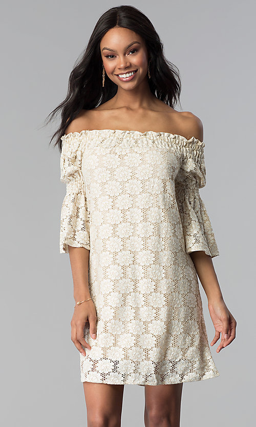 Image of short lace off-the-shoulder shift party dress. Style: BLH-DD1097 Front Image