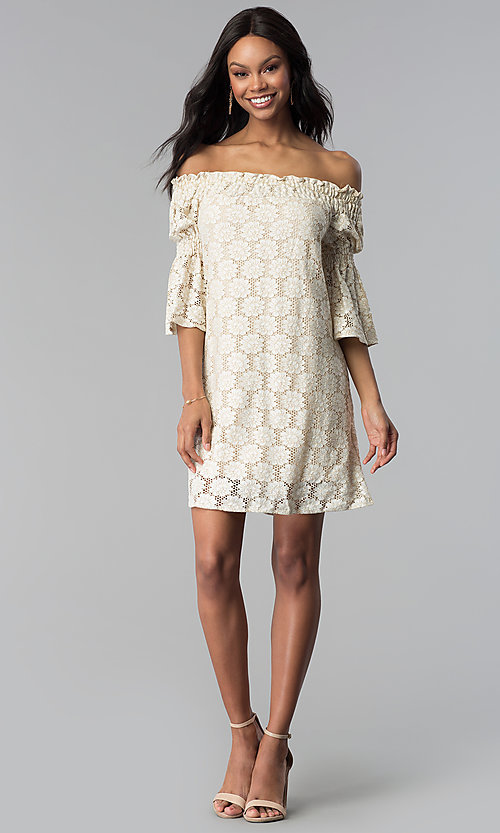Image of short lace off-the-shoulder shift party dress. Style: BLH-DD1097 Detail Image 3