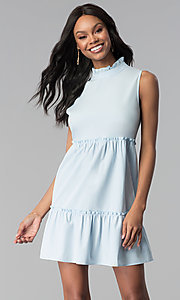 Image of high-neck ruffle short casual party dress. Style: BLH-DD1428 Front Image