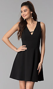 Image of short black v-neck cocktail party dress. Style: CT-7711QQ2AT3 Front Image