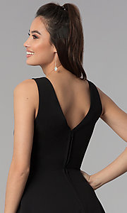 Image of short black v-neck cocktail party dress. Style: CT-7711QQ2AT3 Detail Image 2