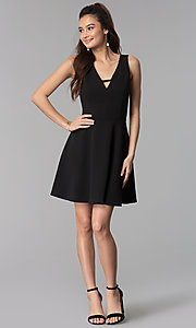Image of short black v-neck cocktail party dress. Style: CT-7711QQ2AT3 Detail Image 3