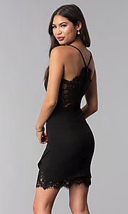 Image of v-neck little black party dress with lace details. Style: CT-7711NQ3BT3 Back Image