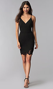 Image of v-neck little black party dress with lace details. Style: CT-7711NQ3BT3 Detail Image 3