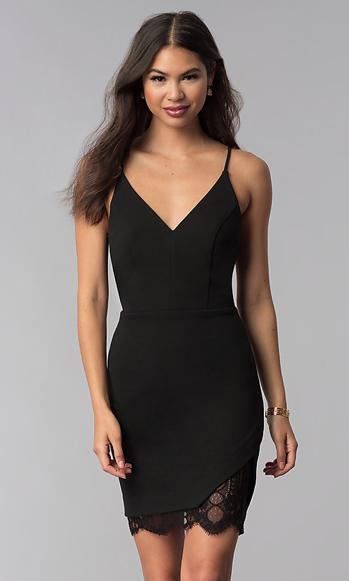 Image of v-neck little black party dress with lace details. Style: CT-7711NQ3BT3 Front Image
