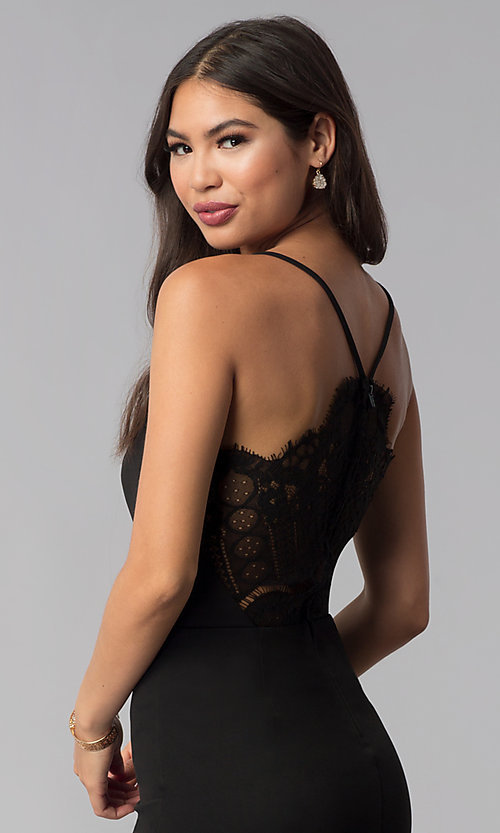 Image of v-neck little black party dress with lace details. Style: CT-7711NQ3BT3 Detail Image 2