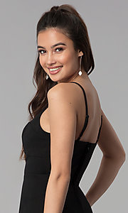 Image of short empire-waist black party dress. Style: CT-7711PD7AT3 Detail Image 2