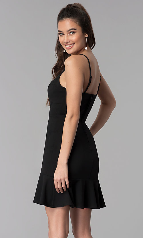 Image of short empire-waist black party dress. Style: CT-7711PD7AT3 Back Image