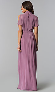 Image of sugar plum long mother-of-the-bride dress. Style: IT-SL170144 Back Image