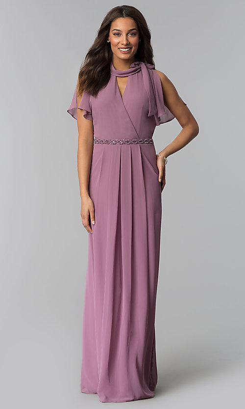 Image of sugar plum long mother-of-the-bride dress. Style: IT-SL170144 Front Image