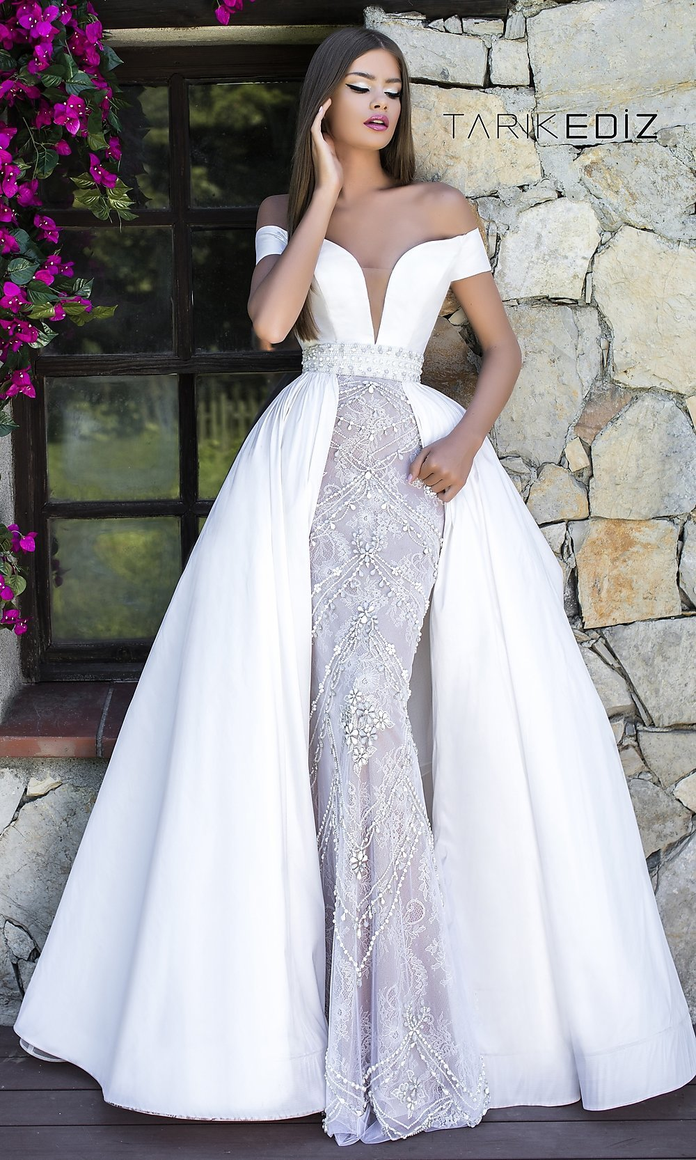 d744ad5b5e Off-the-Shoulder Prom Dress with an A-Line Overskirt