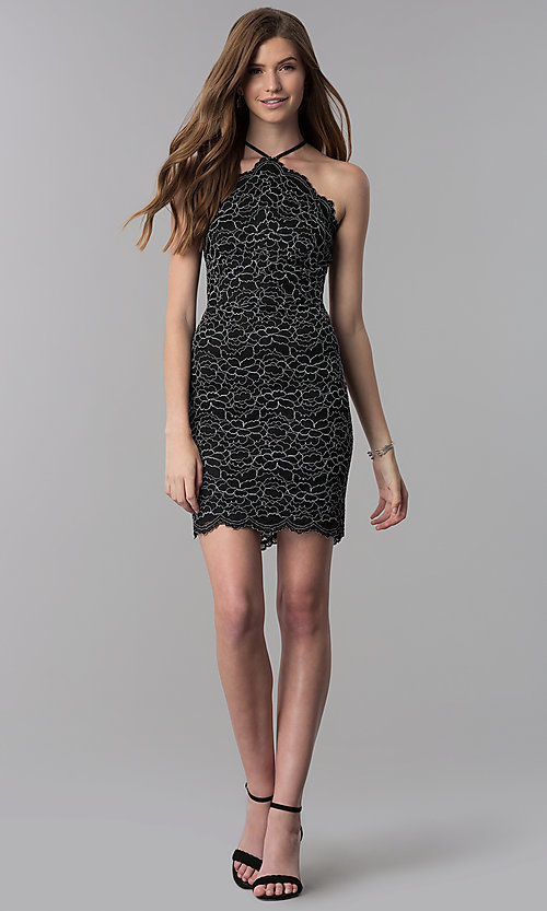 Image of lace black short high-neck wedding guest party dress. Style: DMO-J321717 Detail Image 3