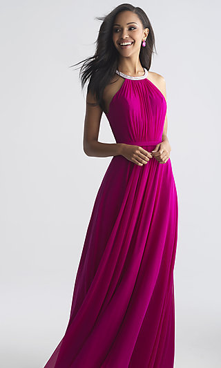 Long A-Line High Neck Prom Dress by Madison James