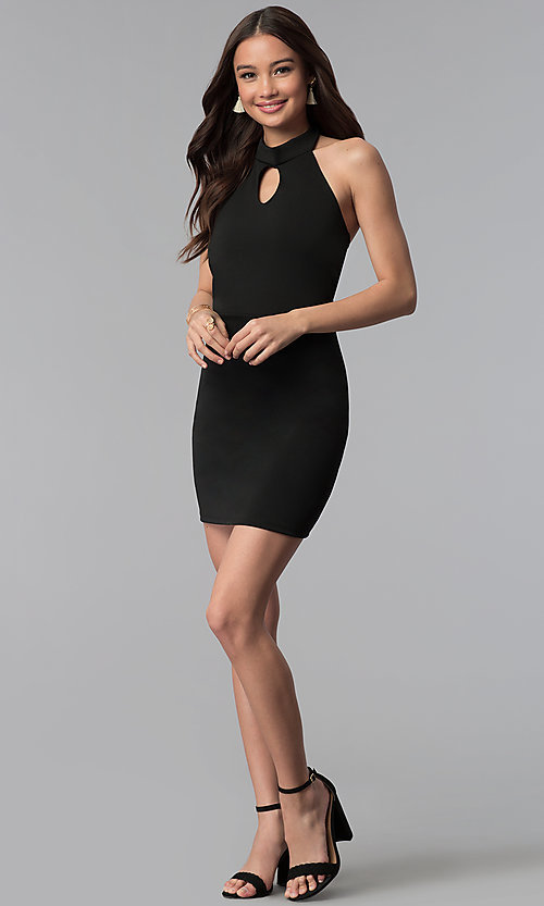 Image of high-keyhole halter-style short party dress. Style: CH-3051 Detail Image 1