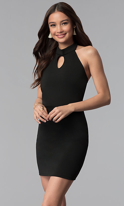 Image of high-keyhole halter-style short party dress. Style: CH-3051 Front Image