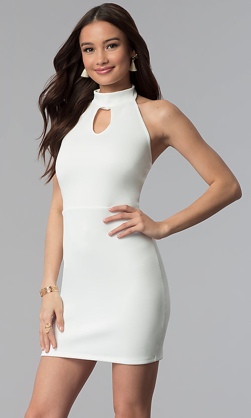 Image of high-keyhole halter-style short party dress. Style: CH-3051 Detail Image 3