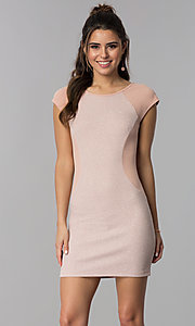 Image of short day-to-night cap-sleeve party dress. Style: SS-D70911J592 Front Image