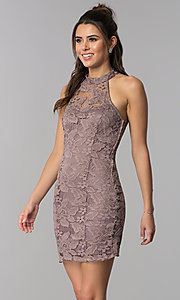Image of high-neck caged-back short lace party dress. Style: SS-D68795H439 Front Image