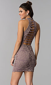Image of high-neck caged-back short lace party dress. Style: SS-D68795H439 Back Image