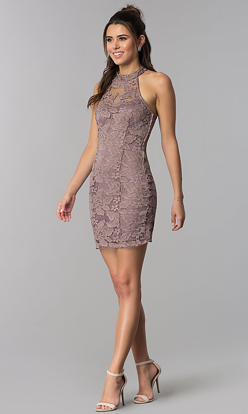Image of high-neck caged-back short lace party dress. Style: SS-D68795H439 Detail Image 2