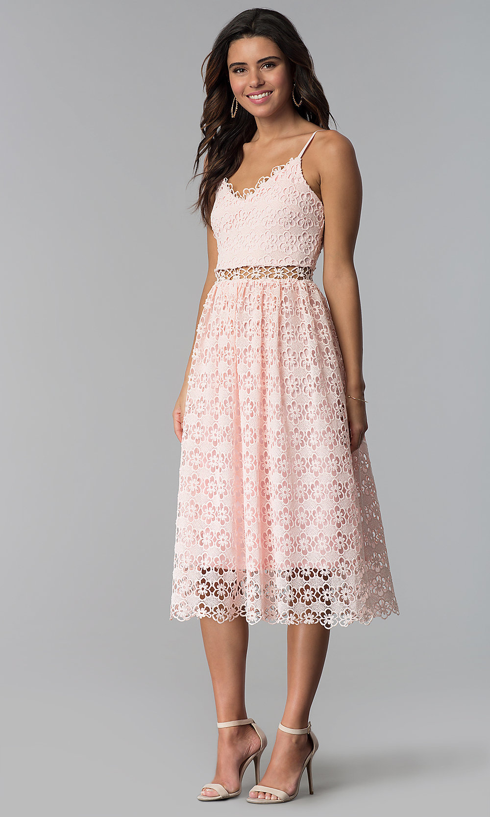 Short Pink Lace Wedding Guest Dress With V Neck
