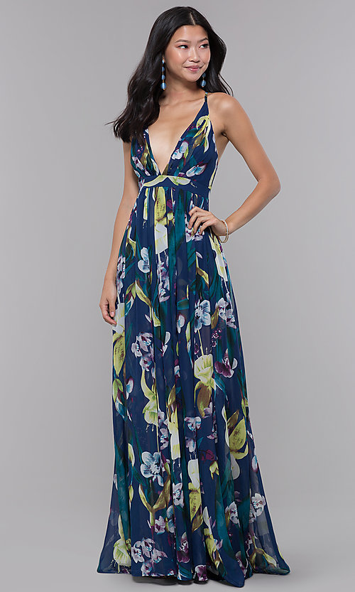 Low V Neck Long Floral Print Wedding Guest Dress