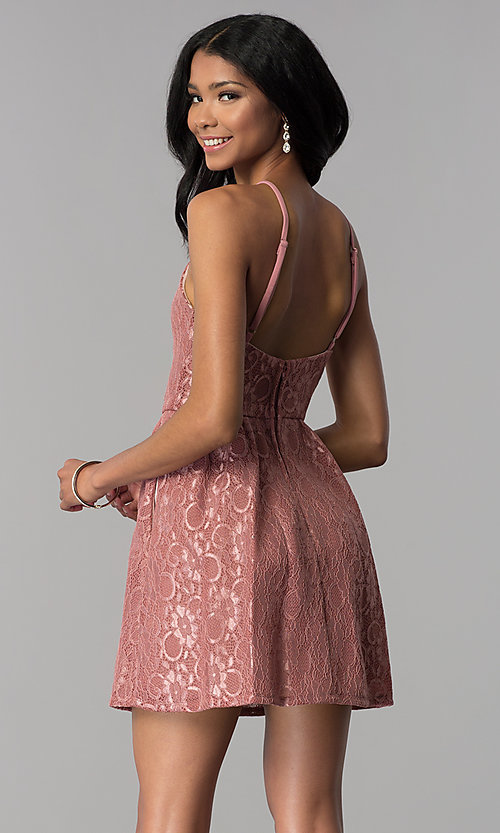 Image of short mauve wedding-guest party dress with pockets. Style: SS-D72411H828 Back Image