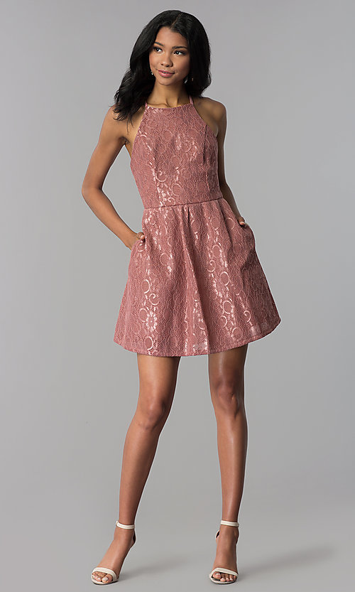 Image of short mauve wedding-guest party dress with pockets. Style: SS-D72411H828 Detail Image 3