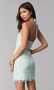 Image of short lace halter open-back party dress. Style: AC-DS24323T Back Image