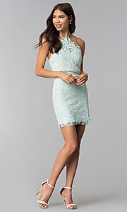 Image of short lace halter open-back party dress. Style: AC-DS24323T Detail Image 2