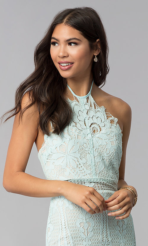 Image of short lace halter open-back party dress. Style: AC-DS24323T Detail Image 1