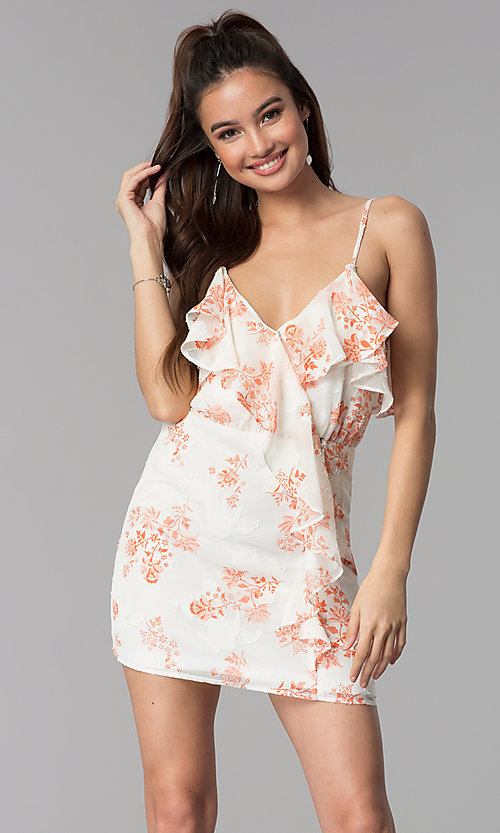 Image of floral-print v-neck short casual party dress. Style: AC-DSS24458W Front Image