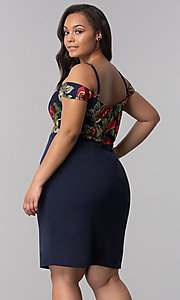Image of short off-shoulder plus-size party dress in navy. Style: SOI-PS40032 Back Image