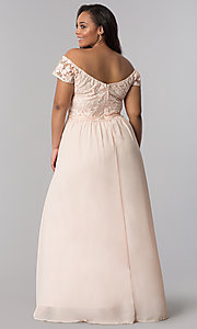 Image of v-neck plus prom dress with cap sleeves. Style: SOI-PM17756 Back Image