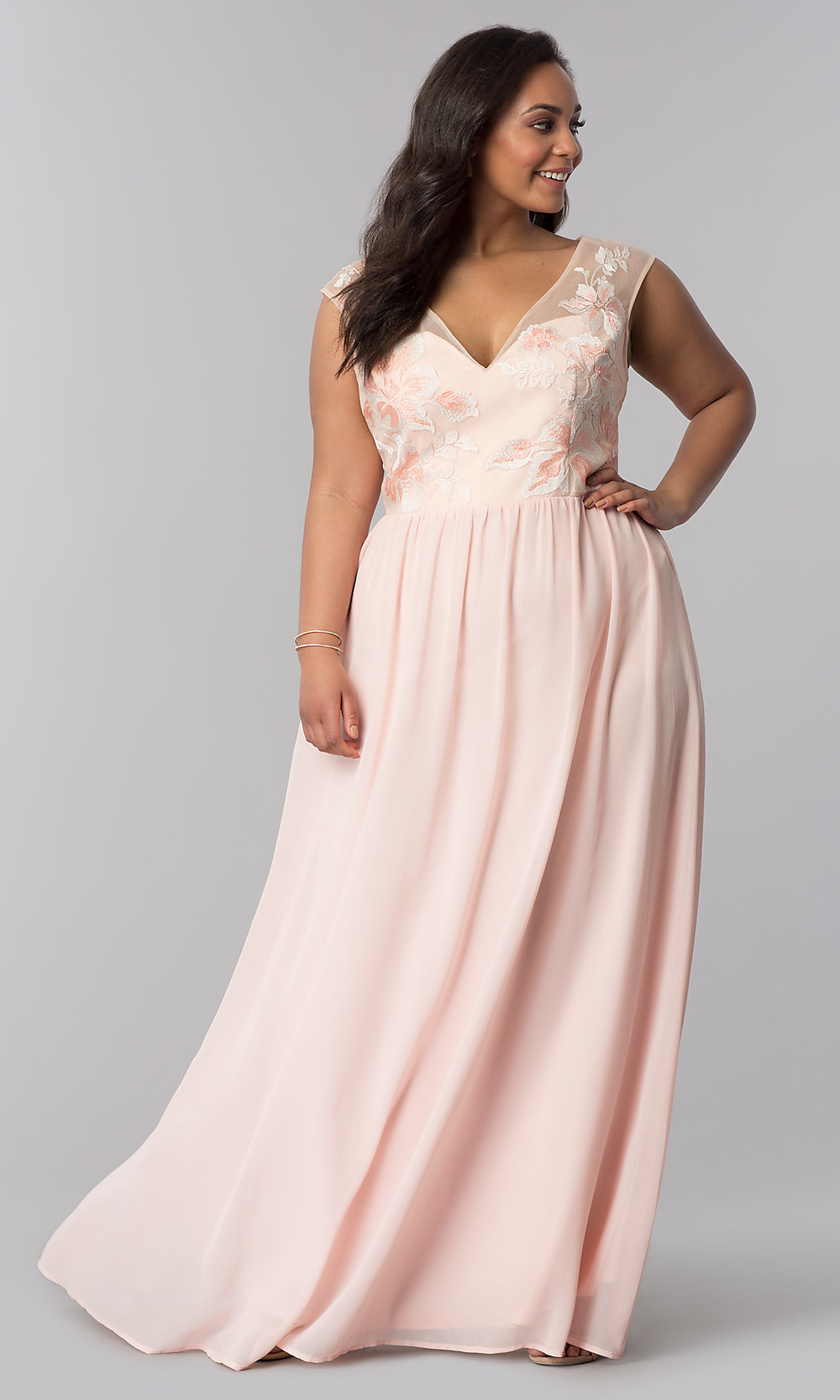 V-Neck Plus-Size Prom Dress in Blush Pink - PromGirl