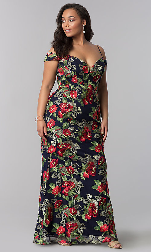 Image of long metallic-embroidered plus-size prom dress. Style: SOI-PM17844 Detail Image 1