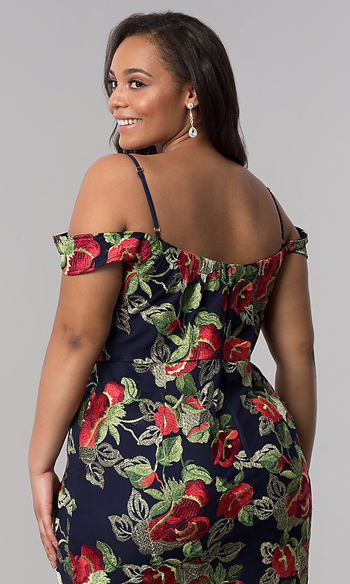 Image of long metallic-embroidered plus-size prom dress. Style: SOI-PM17844 Detail Image 3