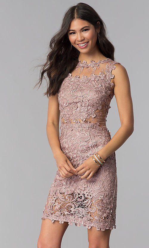 Image of short lace sleeveless wedding guest party dress. Style: SOI-D15668 Detail Image 1
