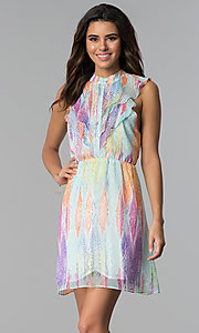Image of sleeveless multicolored short party dress. Style: ESL-62171D-K Front Image