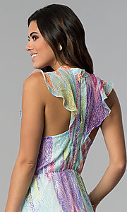 Image of sleeveless multicolored short party dress. Style: ESL-62171D-K Detail Image 2