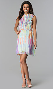 Image of sleeveless multicolored short party dress. Style: ESL-62171D-K Detail Image 3