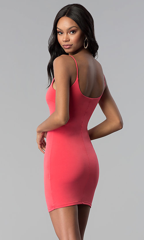 Image of casual short sleeveless fitted coral party dress. Style: BLU-BD8203 Back Image