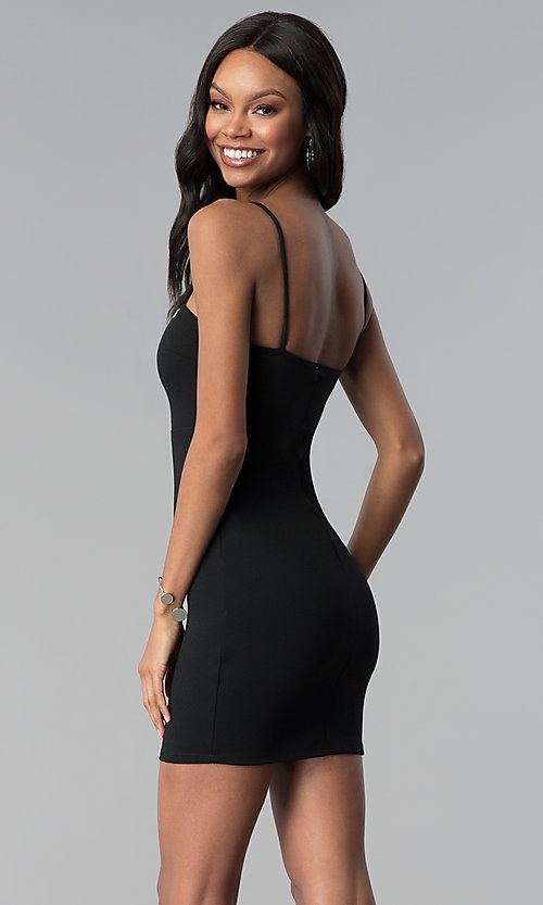 Image of little black party dress with grommet detail. Style: BLU-BD9009 Back Image