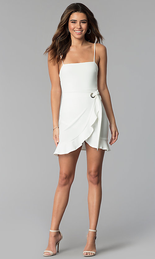 Image of wrap-tie short white graduation party dress. Style: BLU-BD8837 Detail Image 3