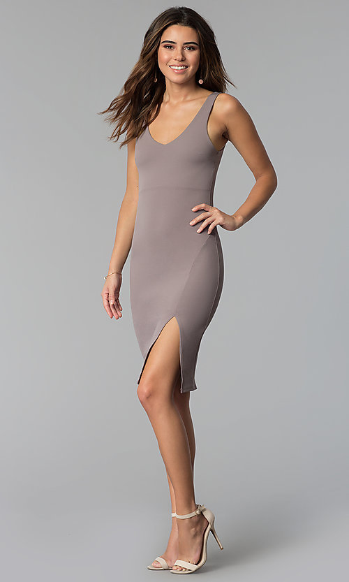 Image of short v-neck cocktail party dress in smoke mauve. Style: BLU-BD9037 Detail Image 3