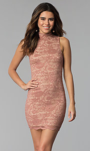 Image of short high-neck lace sheath party dress. Style: BLU-BD9050 Front Image