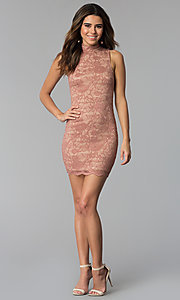Image of short high-neck lace sheath party dress. Style: BLU-BD9050 Detail Image 3