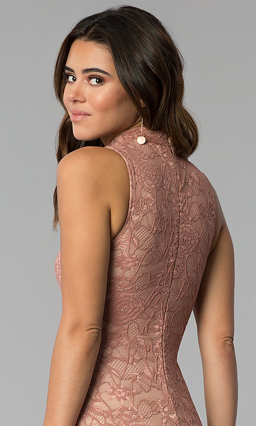 Image of short high-neck lace sheath party dress. Style: BLU-BD9050 Detail Image 2