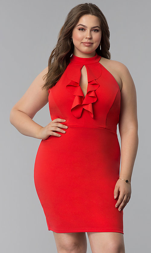 Image of short plus-size keyhole-front party dress. Style: SY-IXD5664VP Front Image