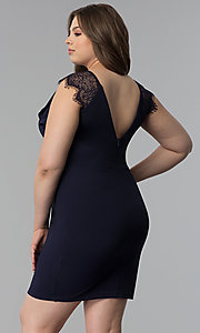 Image of short plus-size party dress with lace cap sleeves. Style: SY-IXD5723VP Back Image